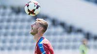Jakub Brabec během tréninku fotbalové reprezentace před zápasy v Belgii a v Norsku.