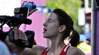 Anežka Drahotová v cíli závodu na 20 km chůze na mistrovství Evropy v Curychu, kde vybojovala bronzovou medaili.