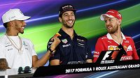 Lewis Hamilton (vlevo), Daniel Ricciardo a Sebastian Vettel (vpravo).