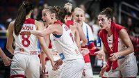 Radost českých basketbalistek na ME v duelu se Švédskem.