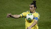 Švédský útočník Zlatan Ibrahimovic v odvetném utkání baráže o postup na MS v Brazílii.