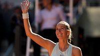 Petra Kvitová po vítězství nad Kristinou Mladenovicovou.
