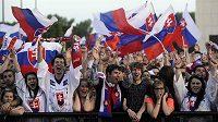 Jásající fanoušci při gólech kapitána slovenského výběru Zdena Cháry ve finále proti Rusku