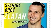 Poštovní známka s podobiznou Zlatana Ibrahimovice.