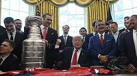 Prezident USA Donald Trump přijal v Bílém domě úřadující šampiony NHL, hokejisty Washington Capitals.