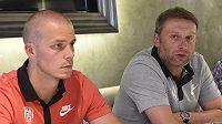 Zleva kapitán brněnských fotbalistů Petr Pavlík a trenér Svatopluk Habanec.