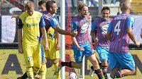 Jaroslav Plašil (uprostřed) se raduje z premiérového gólu v dresu Catanie.