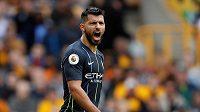 Sergio Agüero z Manchesteru City nebyl spokojený po remíze na hřišti nováčka Wolverhamptonu 1:1.