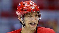 Ruský hokejový útočník Alexandr Ovečkin hýřil na tréninku v hale Bolšoj výbornou náladou.