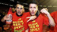 Fotbalisté Belgie slaví postup na MS 2014 do Brazílie.