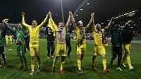 Fotbalisté Ukrajiny slaví ve Slovinsku postup na ME.