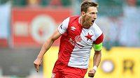 Slavia vede. Milan Škoda jásá po gólu proti Mladé Boleslavi.