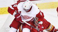 Hokejisté Detroitu Red Wings českého gólmana Calgary Davida Ritticha nešetřili. Před brankou jej atakuje Justin Abdelkader (8).