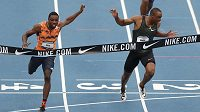 Sprinter Noah Lyles (vlevo) vítězí na mistrovství USA.