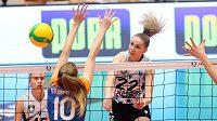 Momentka ze zápasu LM mezi volejbalistkami Olomouce a Kazaně.