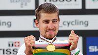 Peter Sagan s medailí za třetí titul na MS v řadě.