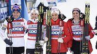 Norské šampionky - T. Wengová, Östbergová, Johaugová, H. Wengová.