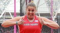 Radost kladivářky Kateřiny Šafránkové po postupu do finále mistrovství světa.
