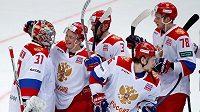 Ruská radost po výhře nad Finy v posledním utkání Channel One Cupu.