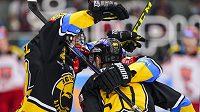 Litvínovští hokejisté Kristian Reichel a Daniel Sorvik )vpravo) se radují z vyrovnávacího gólu na 1:1 ve čtvrtfinále play off hokejové extraligy - ilustrační foto.