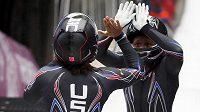Pilotka Elana Meyersová (vlevo) a Lauryn Williamsová z USA vedou po úvodních dvou jízdách olympijský závod dvojbobů.