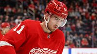 Filip Zadina v dresu Detroitu. Víc než za Red Wings ale český hokejový útočník nastupuje za Grand Rapids v AHL.
