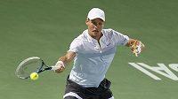 Tomáš Berdych v dubajském finále s Rogerem Federerem.