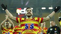 Martin Pospíšil se raduje z gólu v dresu Jagiellonie.