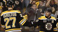 Útočník Bostonu Bruins David Krejčí (vpravo) slaví s obráncem Dougiem Hamiltonem gól proti Buffalu Sabres.
