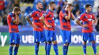 Smutek plzeňských fotbalistů poté, co v nastavení ztratili vítězství nad CSKA v Lize mistrů.