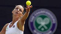 Karolína Plíšková v utkání 1. kola letošního Wimbledonu.