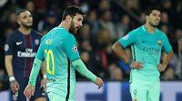 Barcelonský Lionel Messi při prvním osmifinále LM s Paris SG.