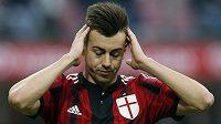 Zklamaný útočník AC Milán Stephan El Shaarawy po domácí prohře s Atalantou.