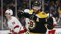 Český hokejový útočník David Krejčí z týmu Boston Bruins slaví svou dvoustou trefu v NHL.