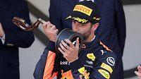 Daniel Ricciardo se raduje z třetího místa ve Velké ceně Monaka.