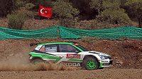 Jan Kopecký se Škodou Fabia R5 při testovací rychlostní zkoušce na Turecké rallye.