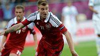 Nicklas Bendtner při červnovém utkání evropského šampionátu proti Portugalsku