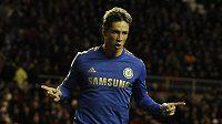 Španělský útočník ve službách Chelsea Fernando Torres se raduje z branky do sítě Sunderlandu.