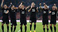 Hráči Sparty Praha se radují z vítězství nad Mladou Boleslaví.