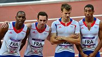 Francouzská štafeta na olympijských hrách v Londýně. Zleva Ronald Pognon, Pierre-Alexis Pessonneaux, Christophe Lemaitre a Jimmy Vicaut.