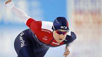 Karolína Erbanová na trati závodu na 500 m při Světovém poháru v Heerenveenu.