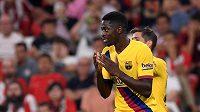 Barcelonský útočník Ousmane Dembélé při utkání s Bilbaem.