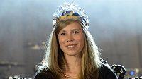 Eva Samková s korunou pro nejúspěšnějšího v anketě Král bíle stopy 2014.