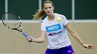 Karolína Plíšková během tréninku českého týmu před finále Fed Cupu s Ruskem.