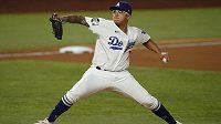 Julio Urias z Los Angeles Dodgers v šestém utkání Světové série. (ilustrační foto)