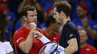 Tenista Andy Murray (vpravo) slaví s nehrajícím kapitánem Leonem Smithem bod proti Austrálii v semifinále Davisova poháru.