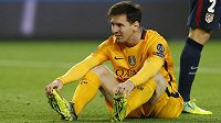 Lionel Messi z Barcelony při utkání s Atlétikem Madrid.