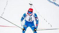 Český biatlonista Michal Krčmář v cíli sprintu v rakouském Hochfilzenu.