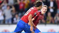 Česká fotbalová radost po gólu Patrika Schicka do bulharské sítě v utkání kvalifikace o postup na ME 2020.