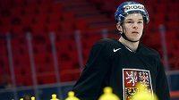 Tomáš Hertl v hale Globen ve Stockholmu na prvním tréninku české hokejové reprezentace.